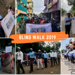Volunteers participating in the blind walk